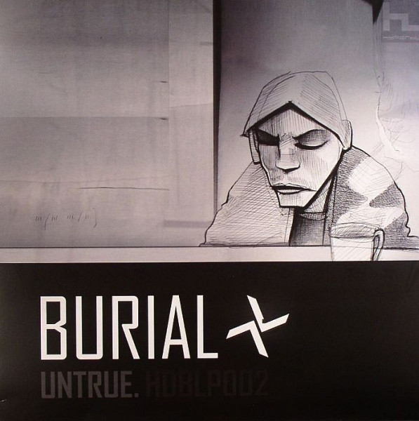 Burial's Untrue album cover with photography shot by (link: https://www.georginacook.net/burial text: Georgina Cook)